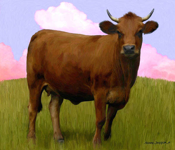 Cow Poster featuring the painting Portrait Of A Cow by Snake Jagger
