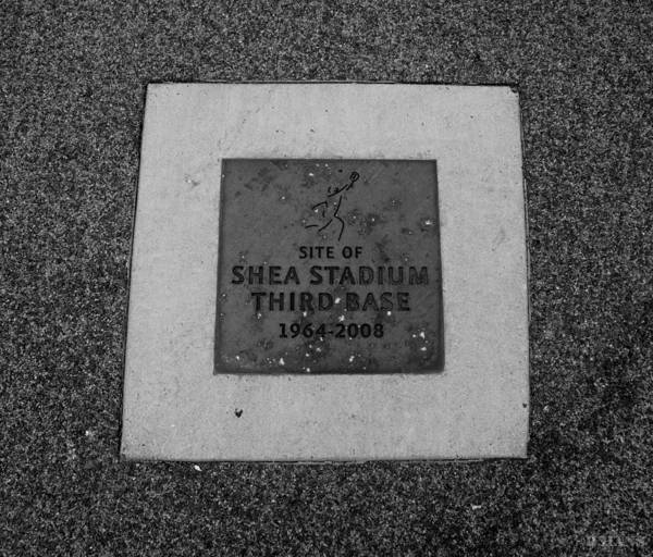Shea Stadium Poster featuring the photograph Shea Stadium Third Base In Black And White by Rob Hans