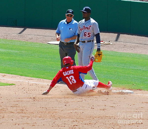 Philadelphia Phillies Poster featuring the photograph Sliding To 3rd by Carol Christopher