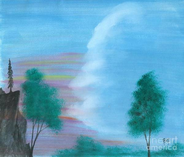 Landscape Poster featuring the painting Split Sky by Robert Meszaros