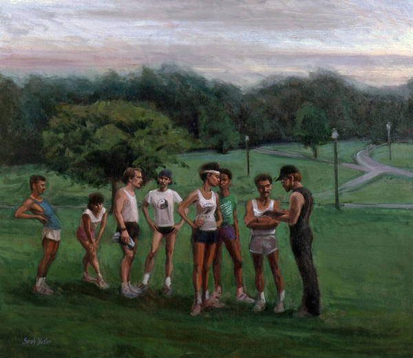 Runners Poster featuring the painting Summer Evening Meet by Sarah Yuster