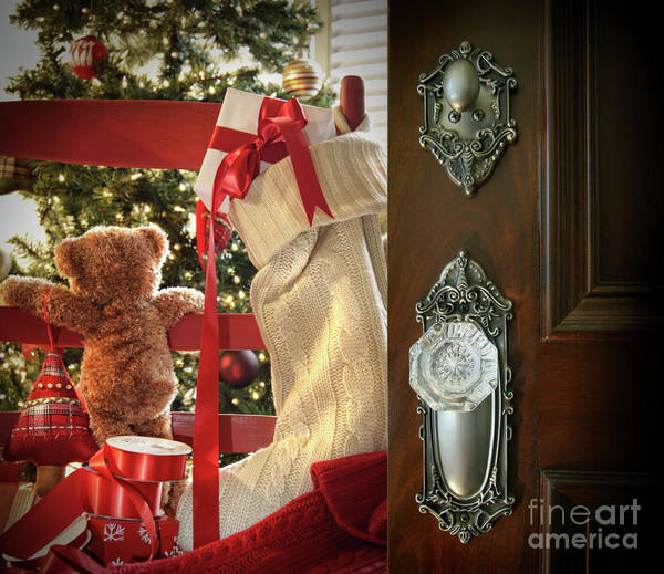 Background Poster featuring the photograph Teddy Waiting For Christmas Time by Sandra Cunningham