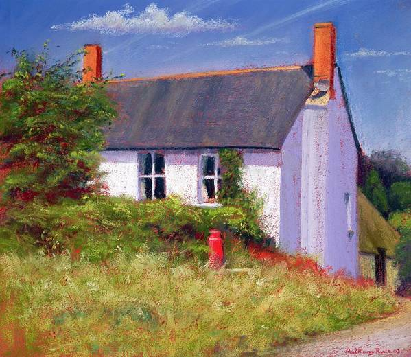 House; Rural; Countryside; Garden; Exterior; Lait; Country Cottage; Summer; Tree; Trees; Milk Churn; Red; Grass; Grassy; Bush; Bushes; Cottage; Windows; Chimney; Chimneys; Cloud; Clouds Poster featuring the painting The Red Milk Churn by Anthony Rule