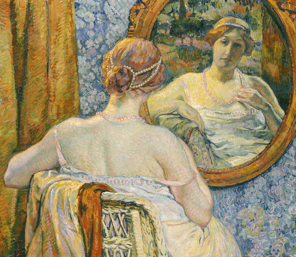 Interior Poster featuring the painting Woman In A Mirror by Theo van Rysselberghe