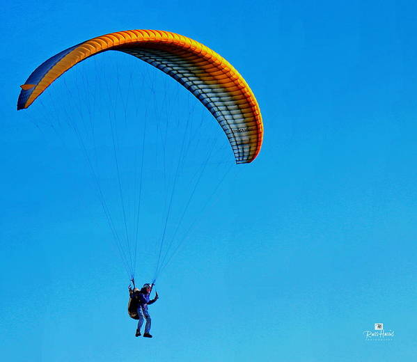 Yellow Hang Glider Poster featuring the photograph Yellow Hang Glider by Russ Harris