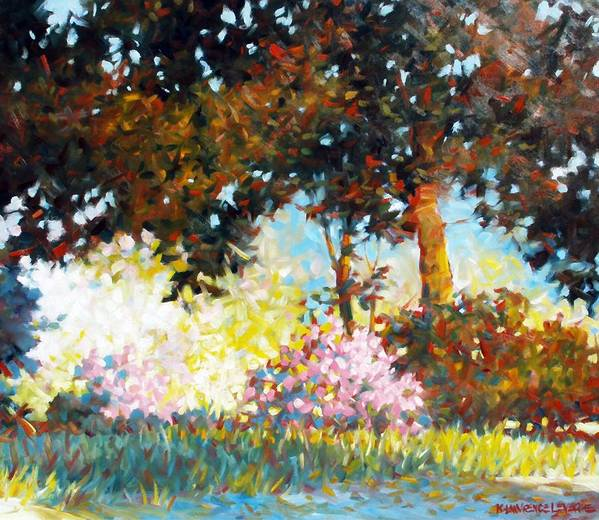 Landscape Poster featuring the painting Azaleas by Kevin Lawrence Leveque