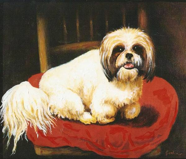 Dog Portrait Artwork Poster featuring the painting Sampson by Jordana Sands