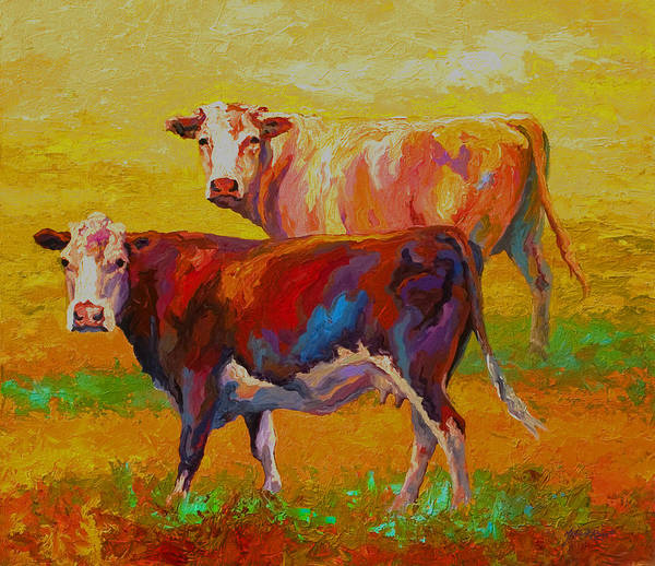 Cows Poster featuring the painting Two Cows by Marion Rose