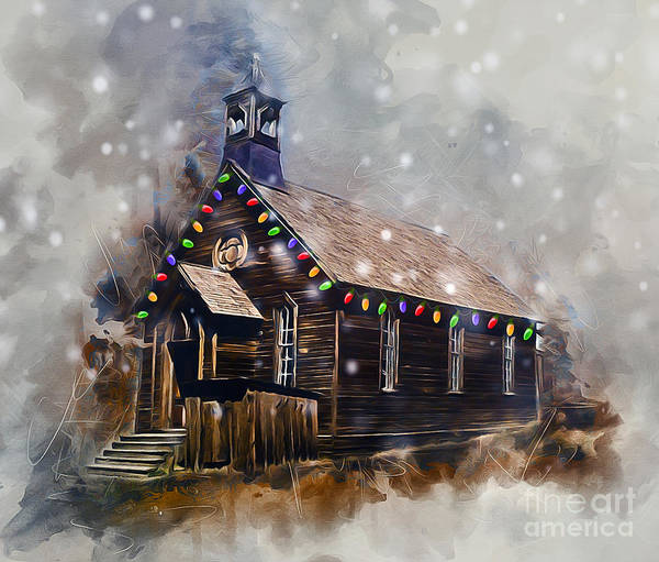 Christmas Poster featuring the digital art Church At Christmas by Ian Mitchell