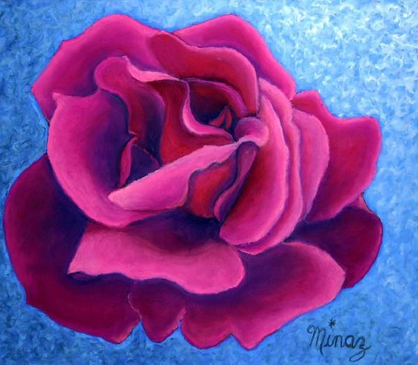 Rose. Pink Rose Poster featuring the painting A Rose Is A Rose.. by Minaz Jantz