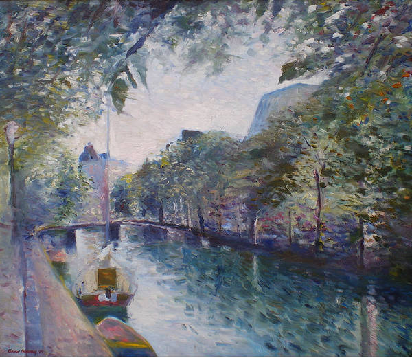 Amsterdam Poster featuring the painting Amsterdam Holland 1997. by Enver Larney