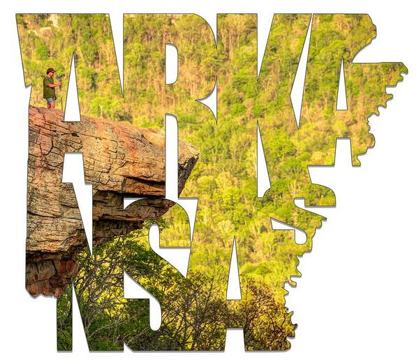 Arkansas Poster featuring the photograph Arkansas Typography - Perspective - Whitaker Point Hawksbill Crag by Gregory Ballos