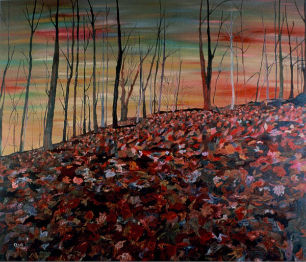 Landscape Poster featuring the painting Autumn by Oudi Arroni