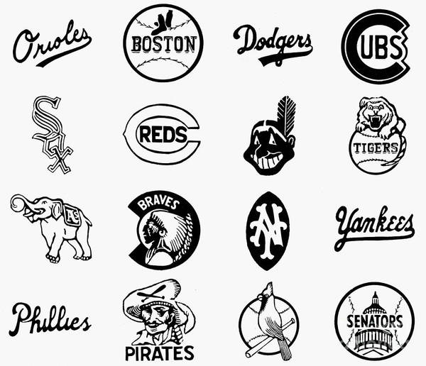 1955 Poster featuring the photograph Baseball Logos by Granger