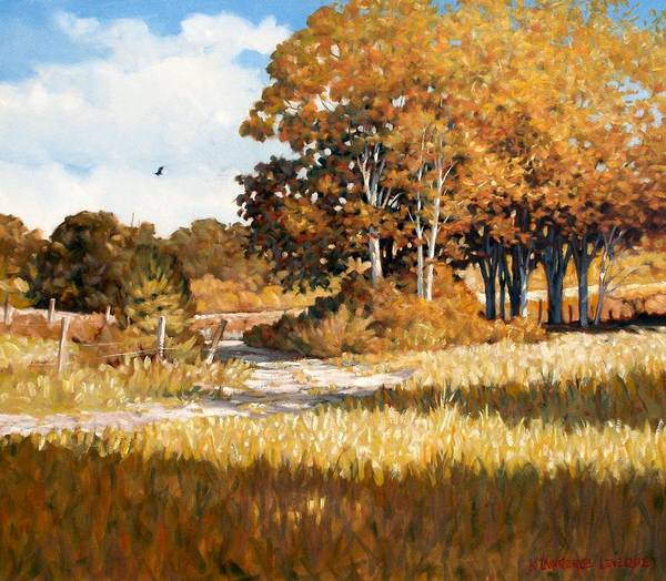 Landscape Poster featuring the painting Bend In The Road by Kevin Lawrence Leveque