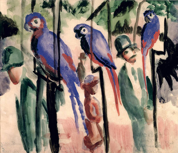 Blue Poster featuring the painting Blue Parrots by August Macke