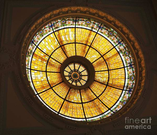 Stained Glass Art Historic Building Glass Dome Capital One Bank Iconic Image Interior Home Decor No One Trompe L'oeil Yellow Glass Wood Print Canvas Print Metal Frame Poster Print Available On T Shirts Tote Bags Duvet Covers Shower Curtains Mugs Tapestries Spiral Notebooks And Phone Cases Poster featuring the photograph Capital One Bank Building Dome by Poet's Eye