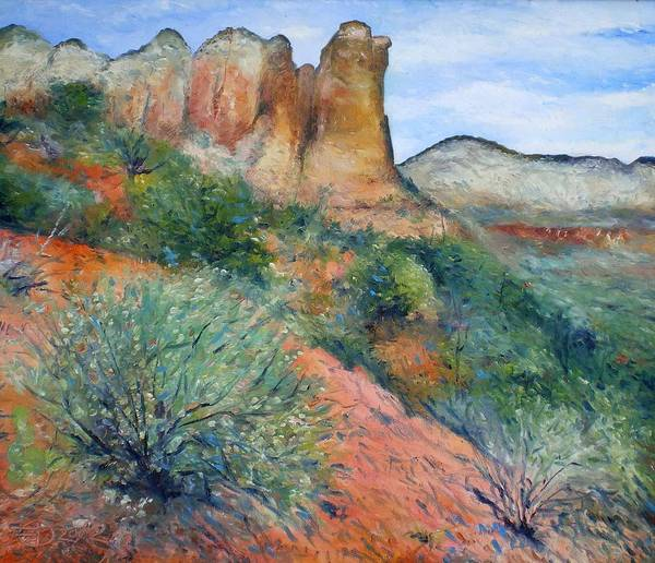Sedona Arizona Poster featuring the painting Coffee Pot Rock Sedona Arizona Usa 2001  by Enver Larney