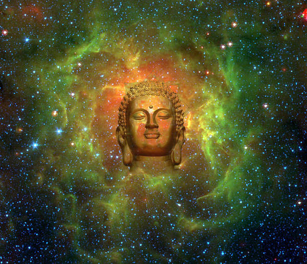 Buddha Poster featuring the digital art Cosmic Buddha by Jody Brusca