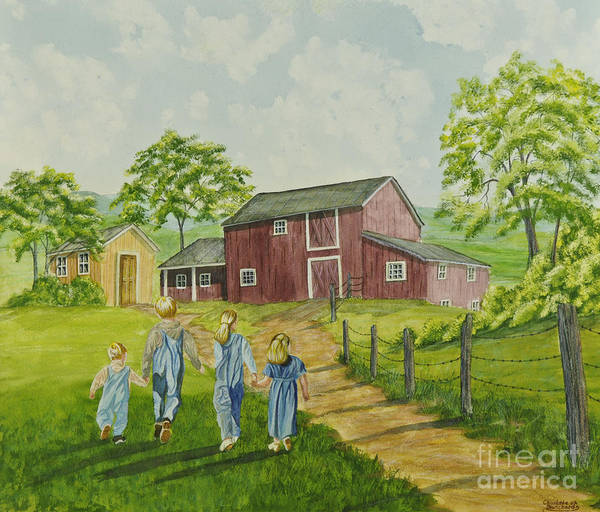 Country Kids Art Poster featuring the painting Country Kids by Charlotte Blanchard