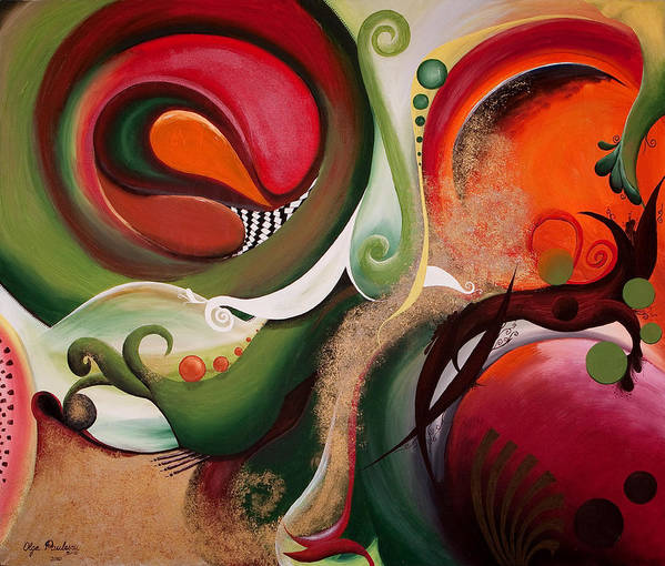 Abstract Poster featuring the painting Dawn Of Creation by Olga Smith