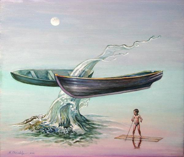 Surrealism Poster featuring the painting Evening Flight by Alexander Chernitsky