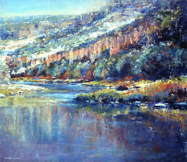 Landscape.pastel.painting Poster featuring the painting Faiding Light by James Roybal