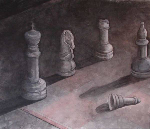 Chess Piece Poster featuring the painting Fallen Chessman by Sandy Clift