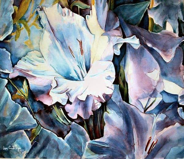 Gladiolas Floral Poster featuring the painting Glads White by June Conte Pryor