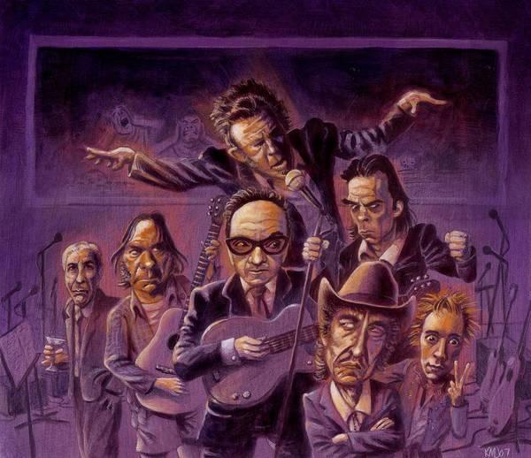 Leonard Cohen Poster featuring the painting Golden Throats by Ken Meyer