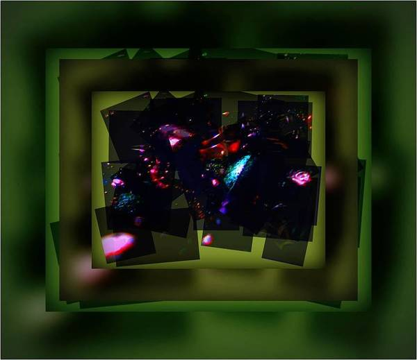 Talmidahs Art Gallery Poster featuring the mixed media Green Gem Collage by BuHu Hoobinoo