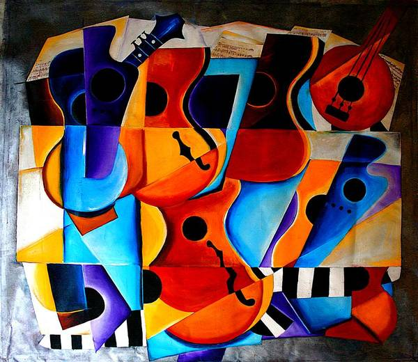 Banjo Poster featuring the painting Harmony by Vel Verrept