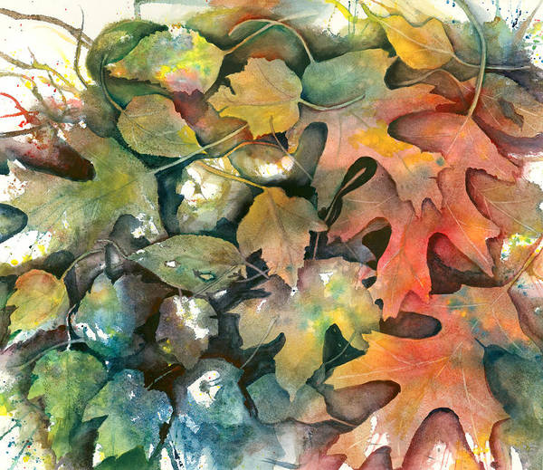 Leaves Poster featuring the painting I Believe I'm Falling by Jeanne Salucci