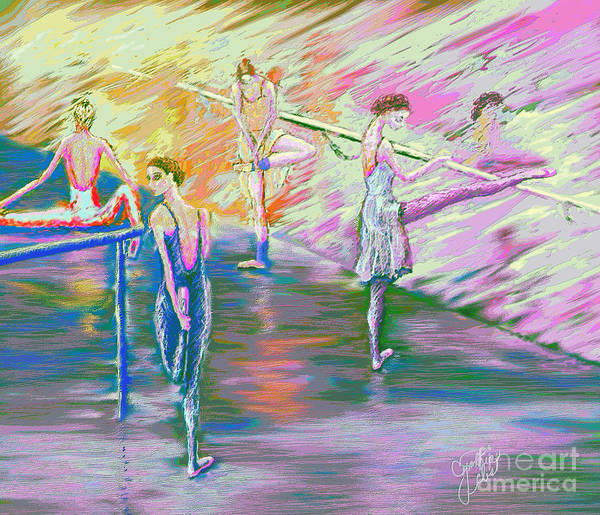 Ballet Dancers Poster featuring the digital art In Ballet Class by Cynthia Sorensen
