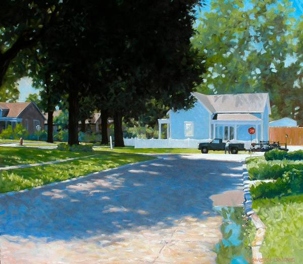 Street Scene Poster featuring the painting Lawn Man by Kevin Lawrence Leveque