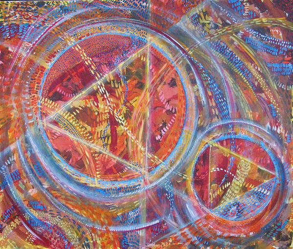 Geometric Poster featuring the painting Microcosm Xvi by Rollin Kocsis