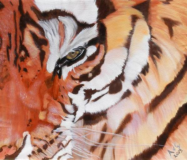 Tiger Poster featuring the painting Minsha by Alessia Orlandi