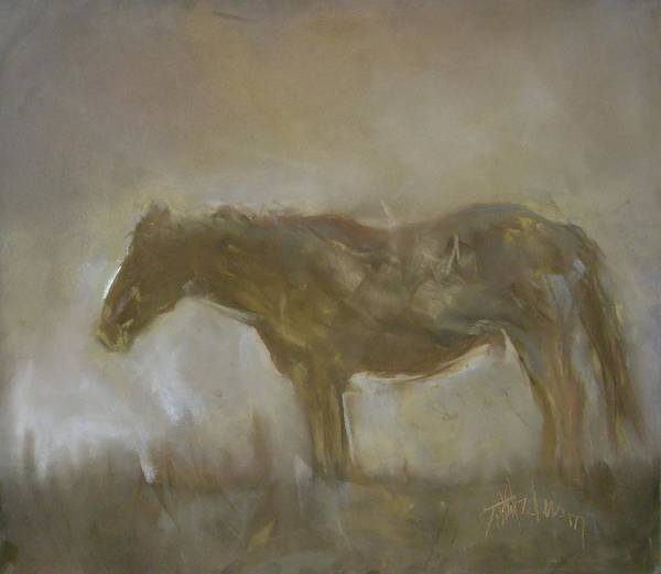 Mustang Poster featuring the painting Moment Of Solitude by Debbie Anderson