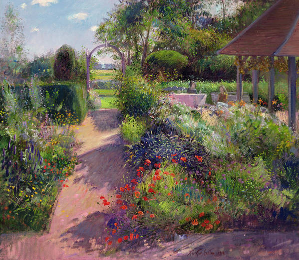 Landscape; Path; Flowerbed; Summer; Arch; Pergola; Tree; Trees; Bush; Bushes; Flower; Flowers; Garden; Women; Sitting; Enjoying Poster featuring the painting Morning Break In The Garden by Timothy Easton