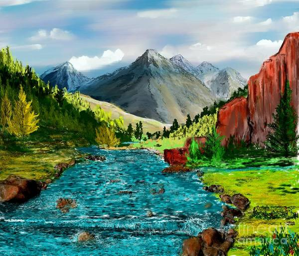 Nature Poster featuring the digital art Mountain Stream by David Lane
