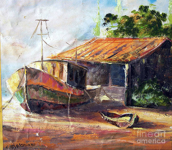 Poster featuring the painting O Barco by Leomariano artist BRASIL