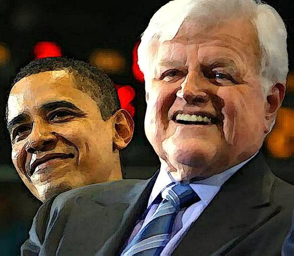 Kennedy Poster featuring the photograph Obama And Kennedy by Gabe Art Inc