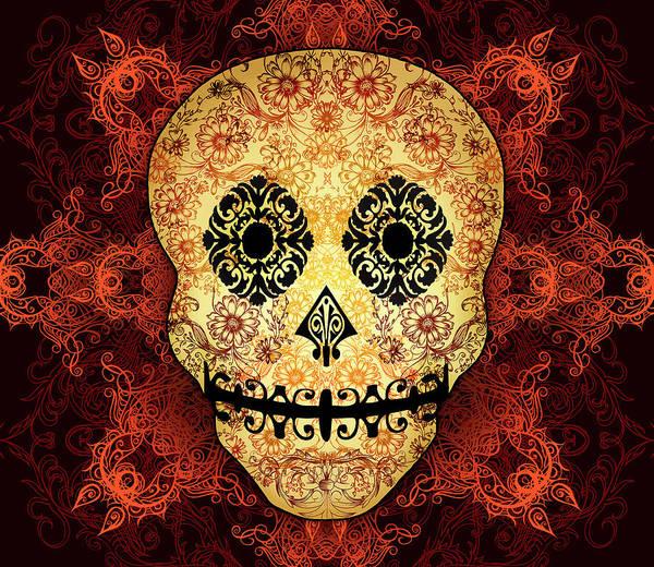 Vintage Poster featuring the digital art Ornate Floral Sugar Skull by Tammy Wetzel