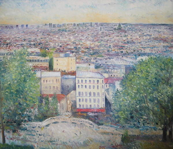 Montmartre Paris Poster featuring the painting Paris From The Basilique Du Sacre Coeur Montmartre France 2003 by Enver Larney