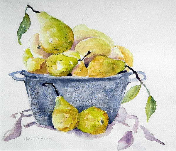 Pears Poster featuring the painting Pears by Lisa Schorr