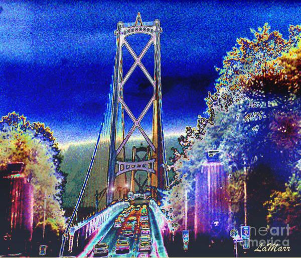 Landscape Poster featuring the mixed media Portland Bridge by LaMarr Kramer