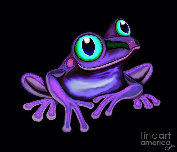 Frogs Poster featuring the painting Purple Frog by Nick Gustafson
