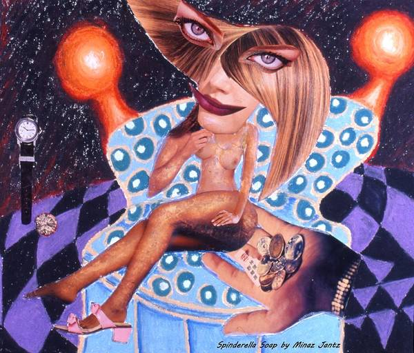 Nude Female Poster featuring the drawing Soap Scene # 3 Missing More Than Her Shoe by Minaz Jantz