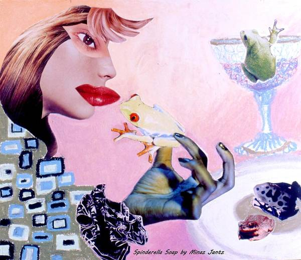 Frogs Poster featuring the drawing Soap Scene #6 Frogs Legs For Dinner by Minaz Jantz