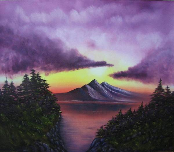 Sunset Poster featuring the painting Sunset In Mountains Original Oil Painting by Natalja Picugina